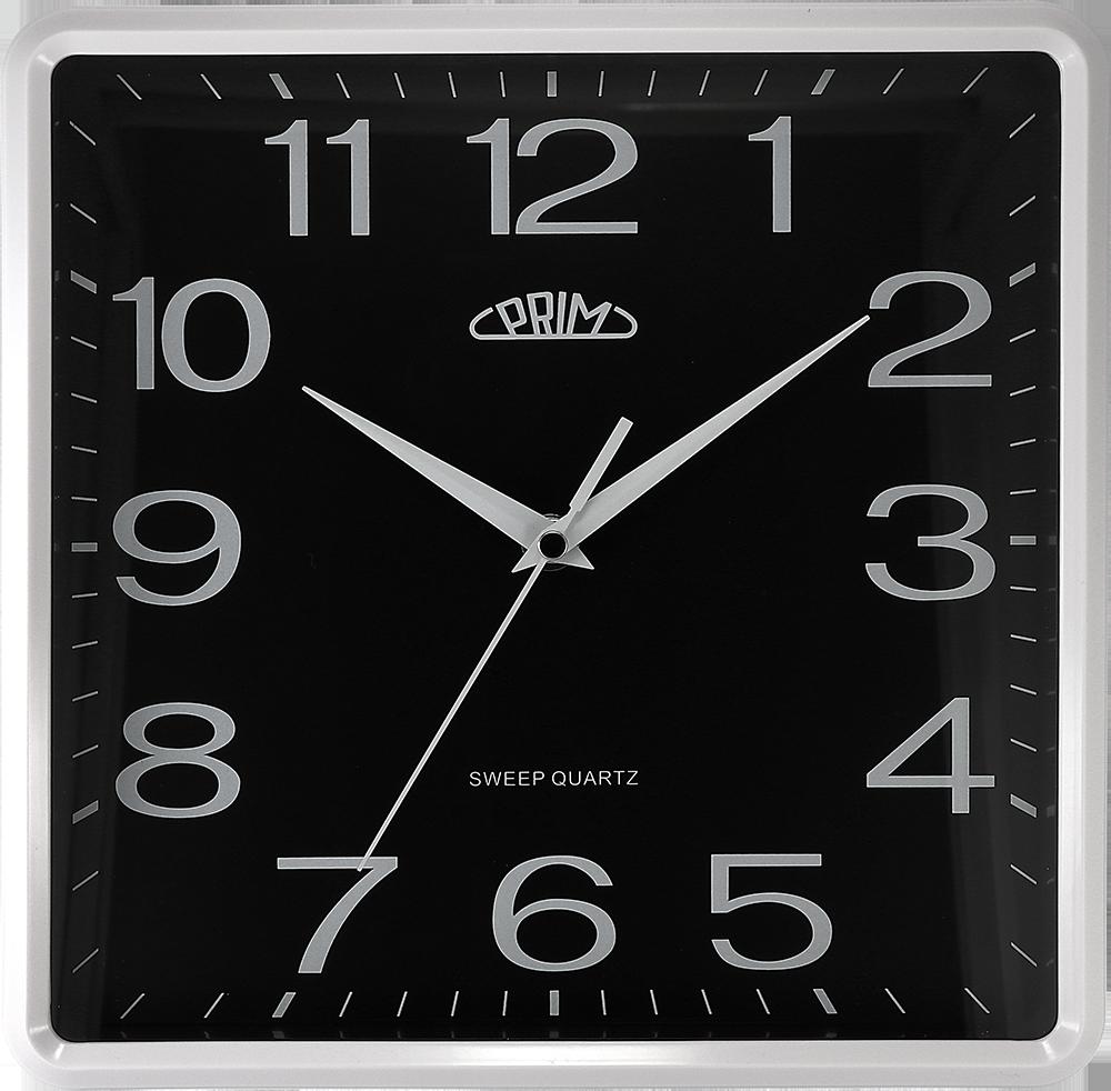 PRIM Černé hranaté nástěnné hodiny PRIM Square 20 - B