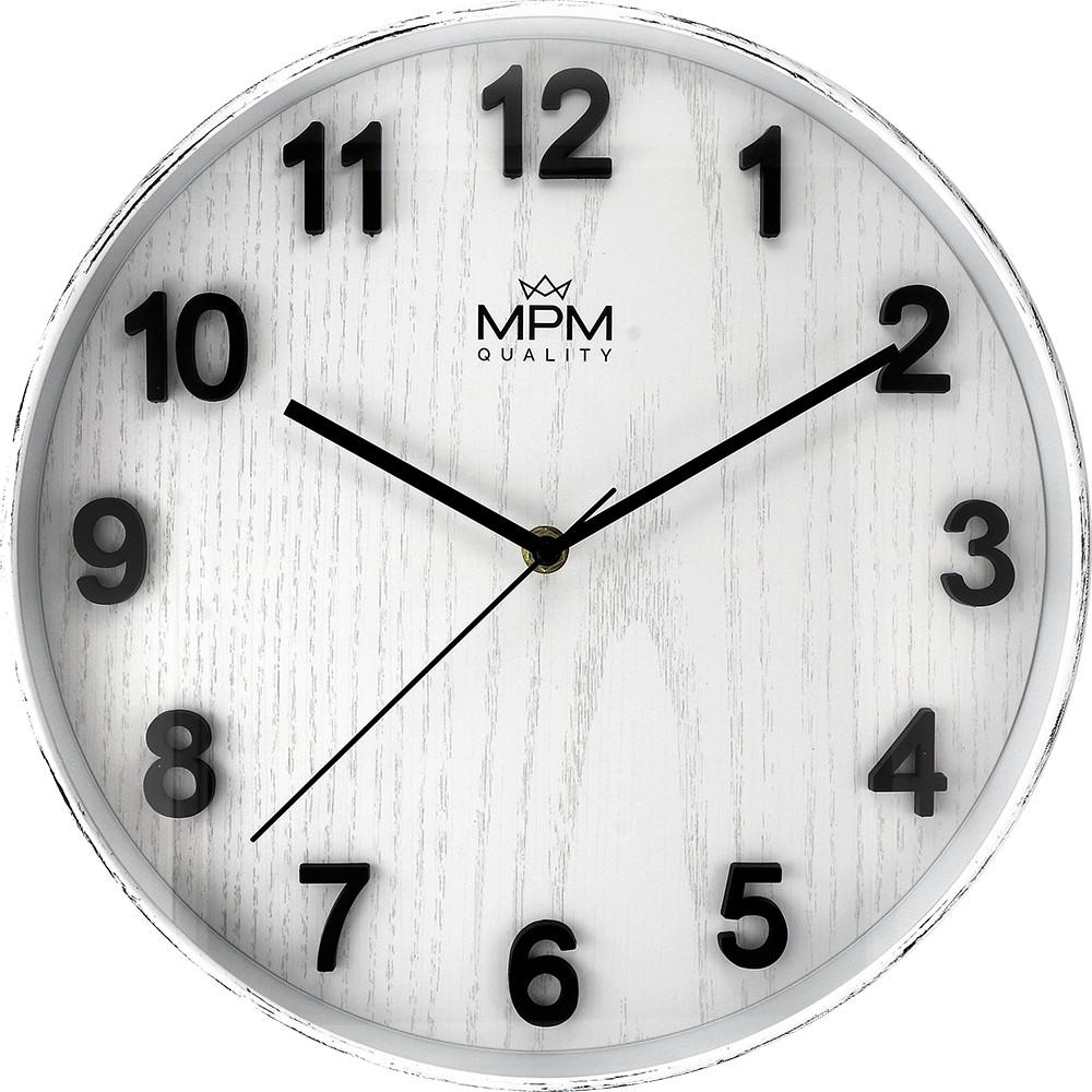MPM Plastové bílé kulaté nástěnné hodiny MPM Beta