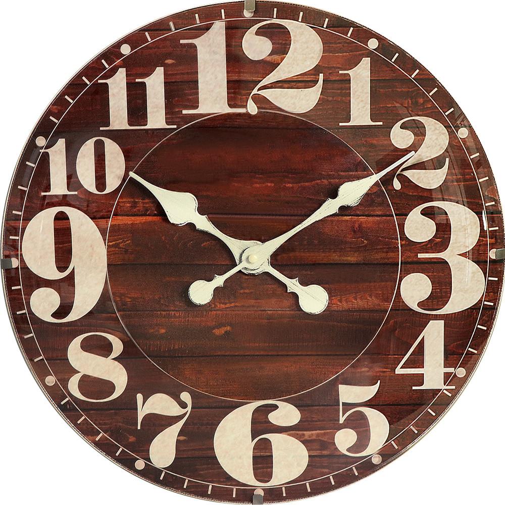 MPM Dřevěné hnědé kulaté nástěnné hodiny MPM E01.4058.50