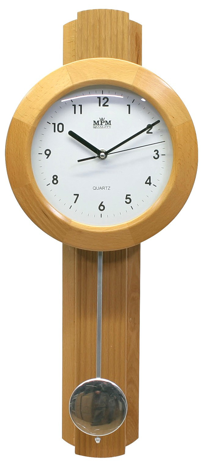 MPM Kyvadlové dřevěné hodiny MPM E01.2464 - II. jakost