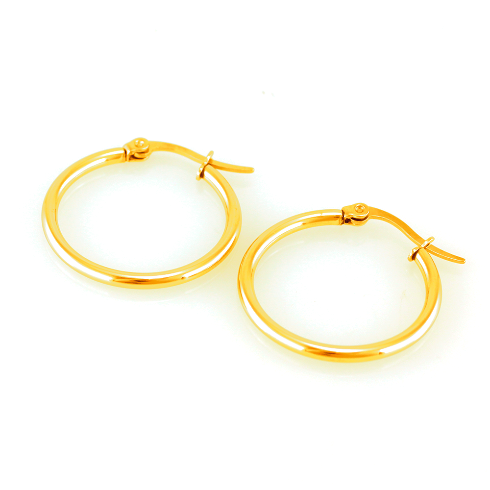 MPM Ocelové dámské náušnice (kruhy) 7389, zlatá barva (65mm) SER.5635