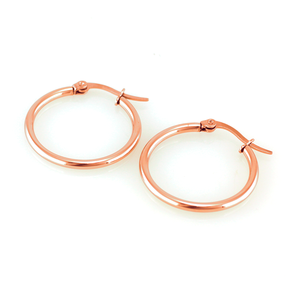 MPM Ocelové dámské náušnice (kruhy) 7392, růžová barva (55mm) SER.5635