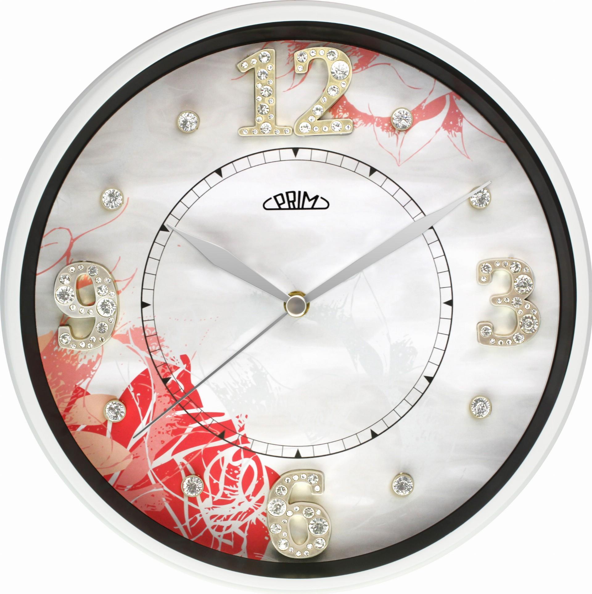 MPM Bílé nástěnné hodiny PRIM Zircon I