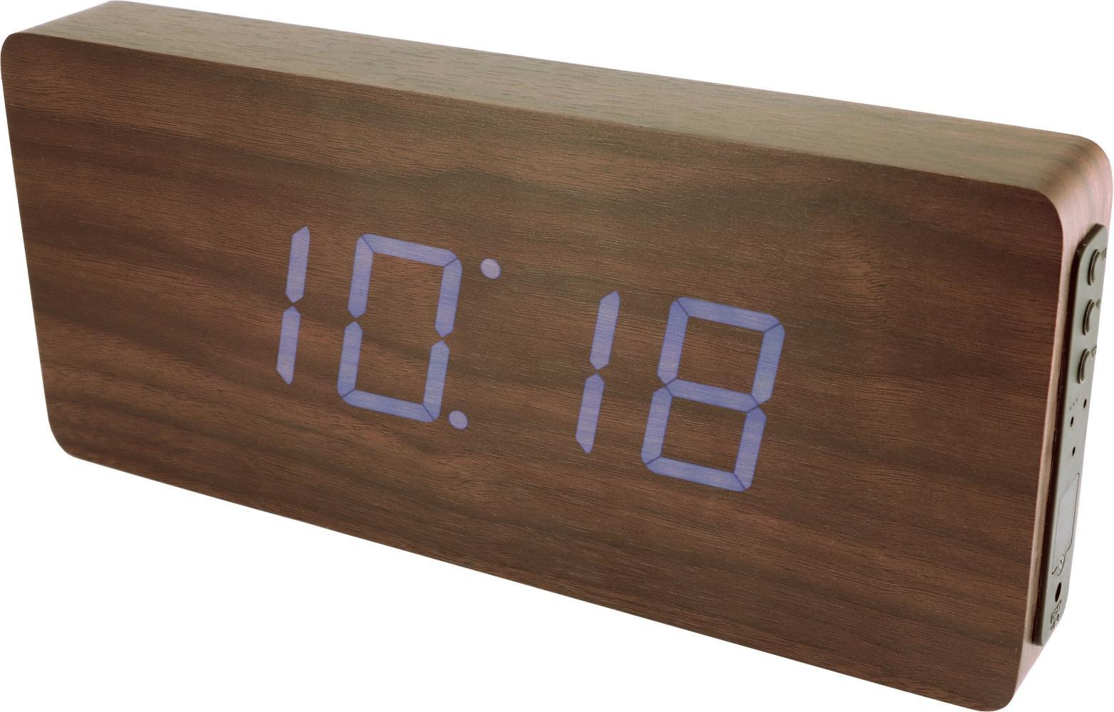 MPM Digitální budík s modrými LED diodami v dřevěném vzhledu MPM C02.3672 BLUE LED