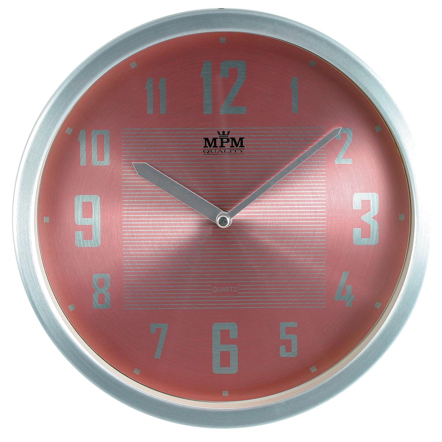 MPM Růžové kulaté hodiny MPM E04.2825