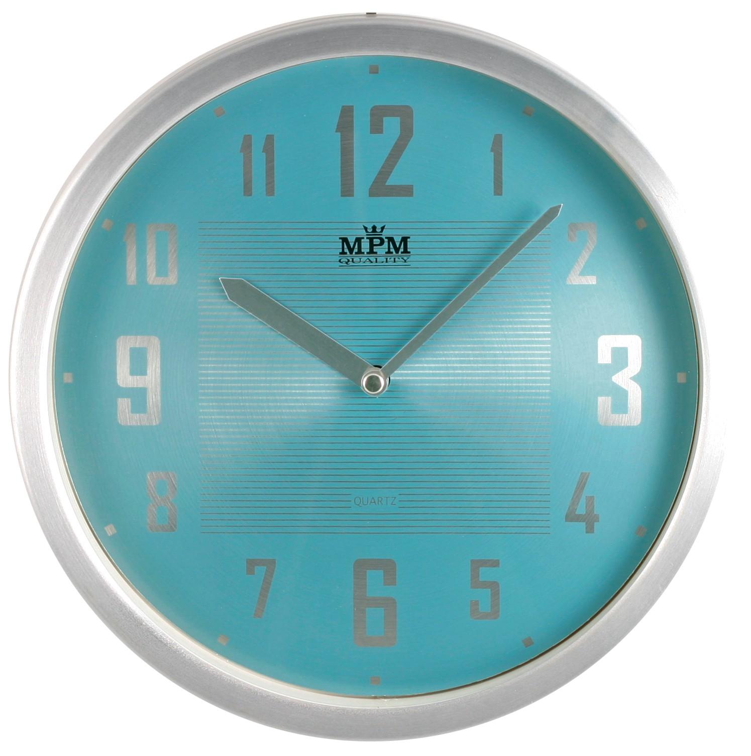 MPM Modré kulaté hodiny MPM E04.2825