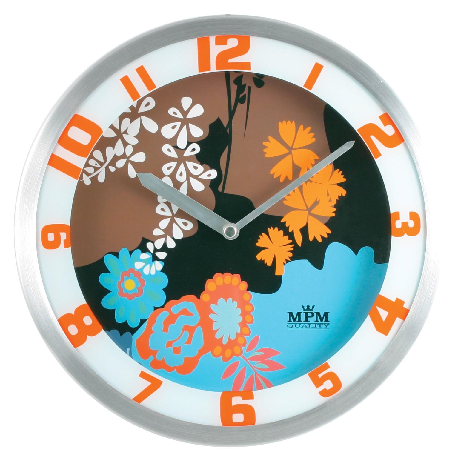 MPM Stříbrné barevné nástěnné kulaté hodiny MPM E04.2826