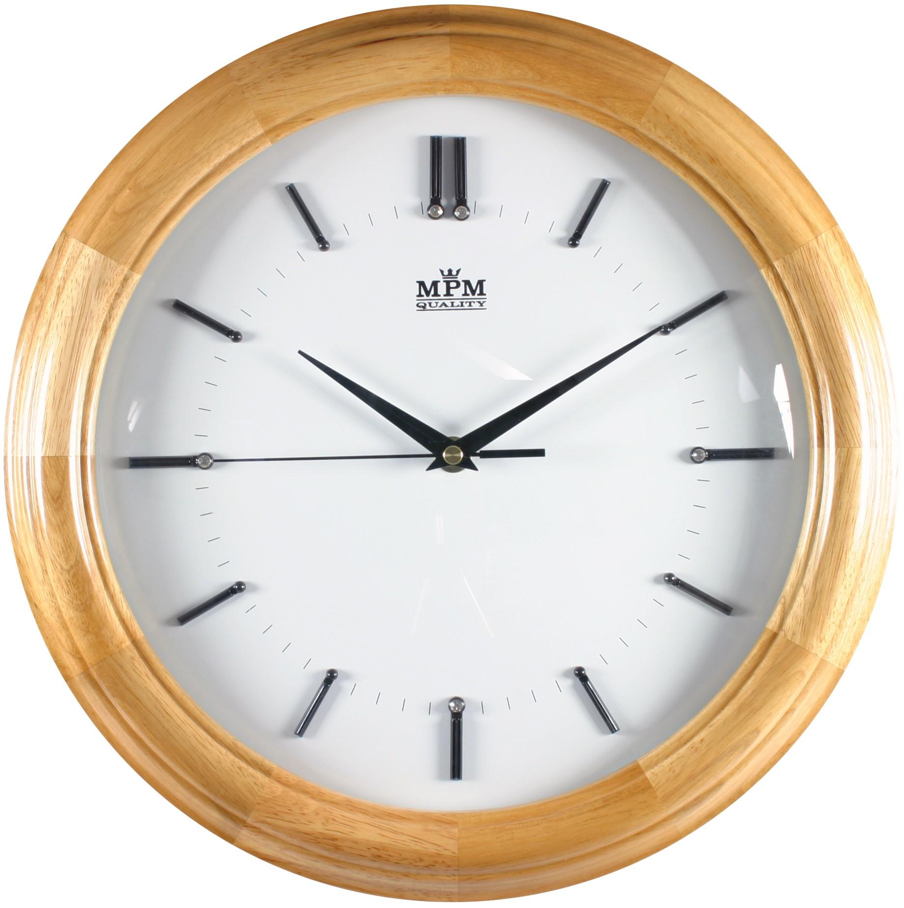 MPM Dřevěné kulaté netikající tiché hodiny MPM E07.2828