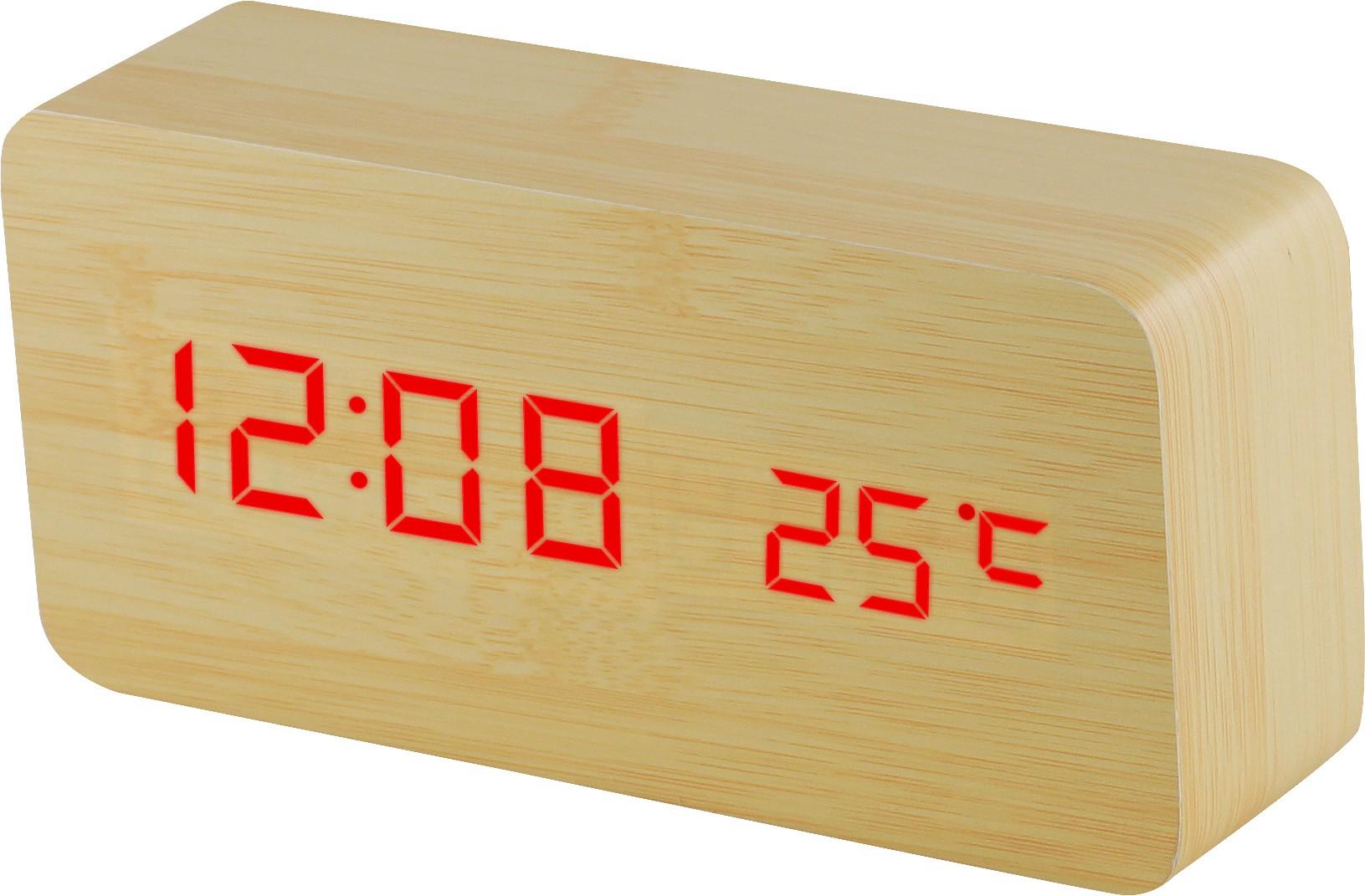 MPM Digitální budík s červenými LED diodami v dřevěném vzhledu C02.3564 RED LED