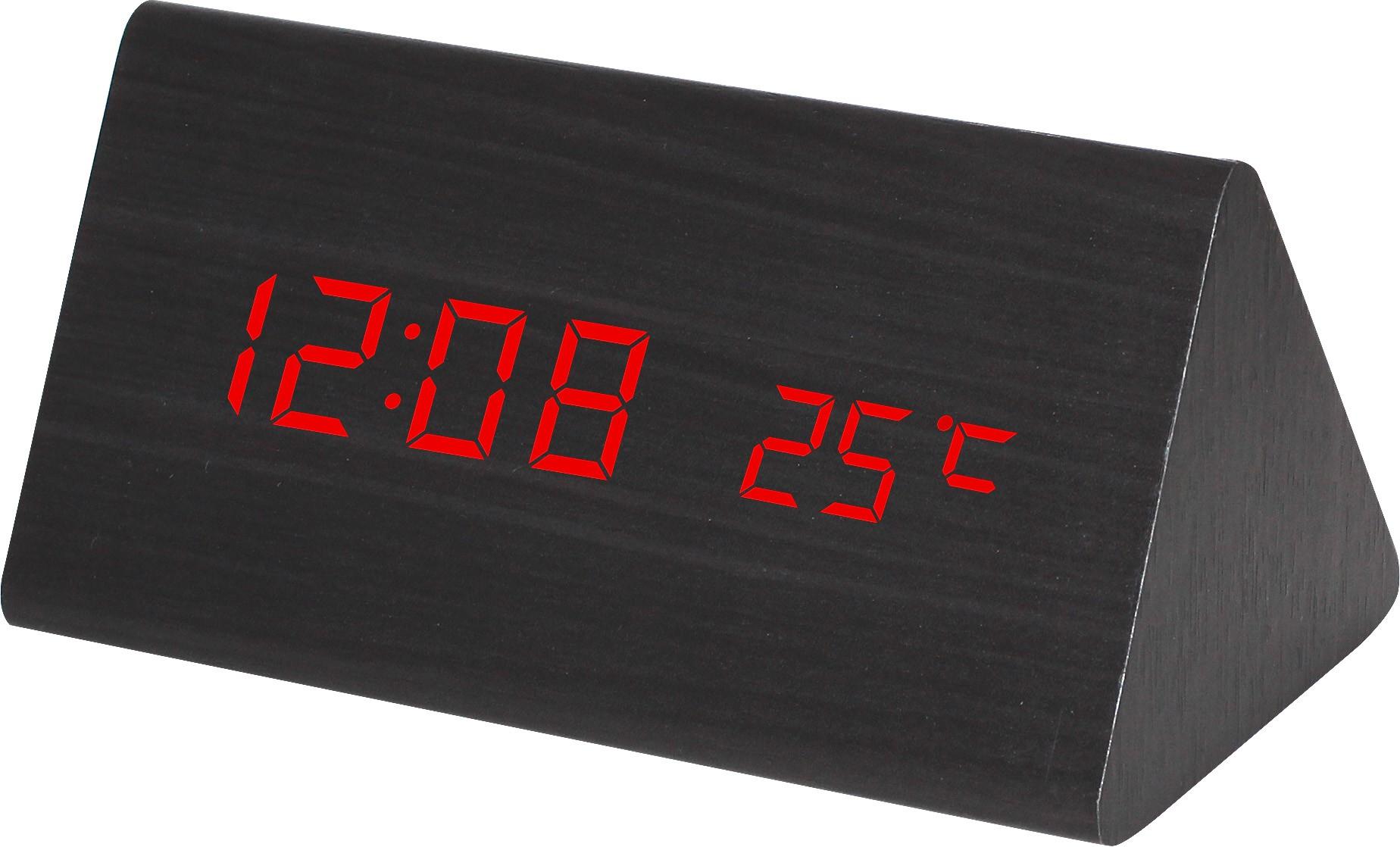 MPM Digitální budík s červenými LED diodami v dřevěném vzhledu MPMC02.3570 RED LED