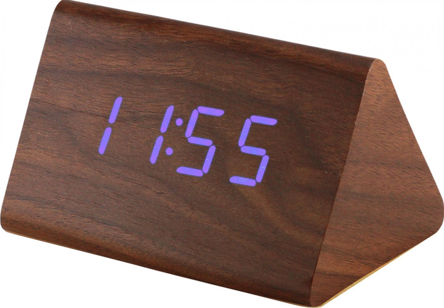 MPM Digitální budík s modrými LED diodami v dřevěném vzhledu C02.3569 BLUE LED