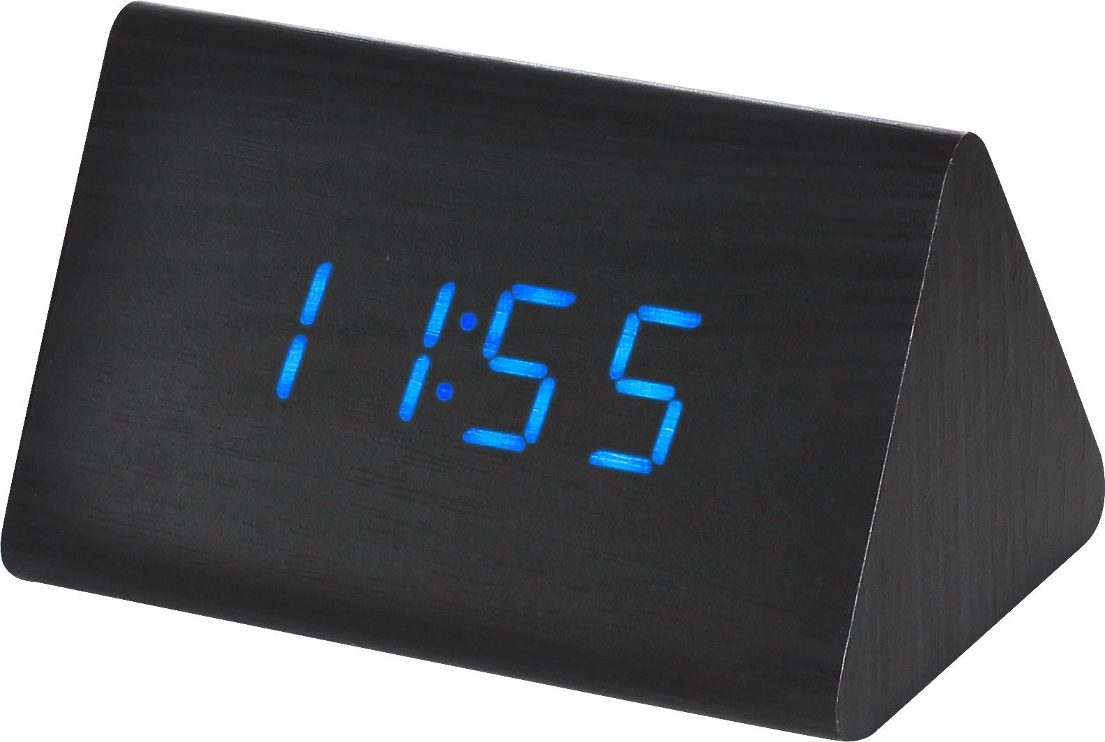 MPM Digitální budík s modrými LED diodami v dřevěném vzhledu MPM C02.3569 BLUE LED