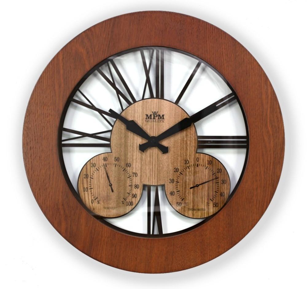 MPM nástěnné dřevěné kulaté hodiny MPM E07.3664