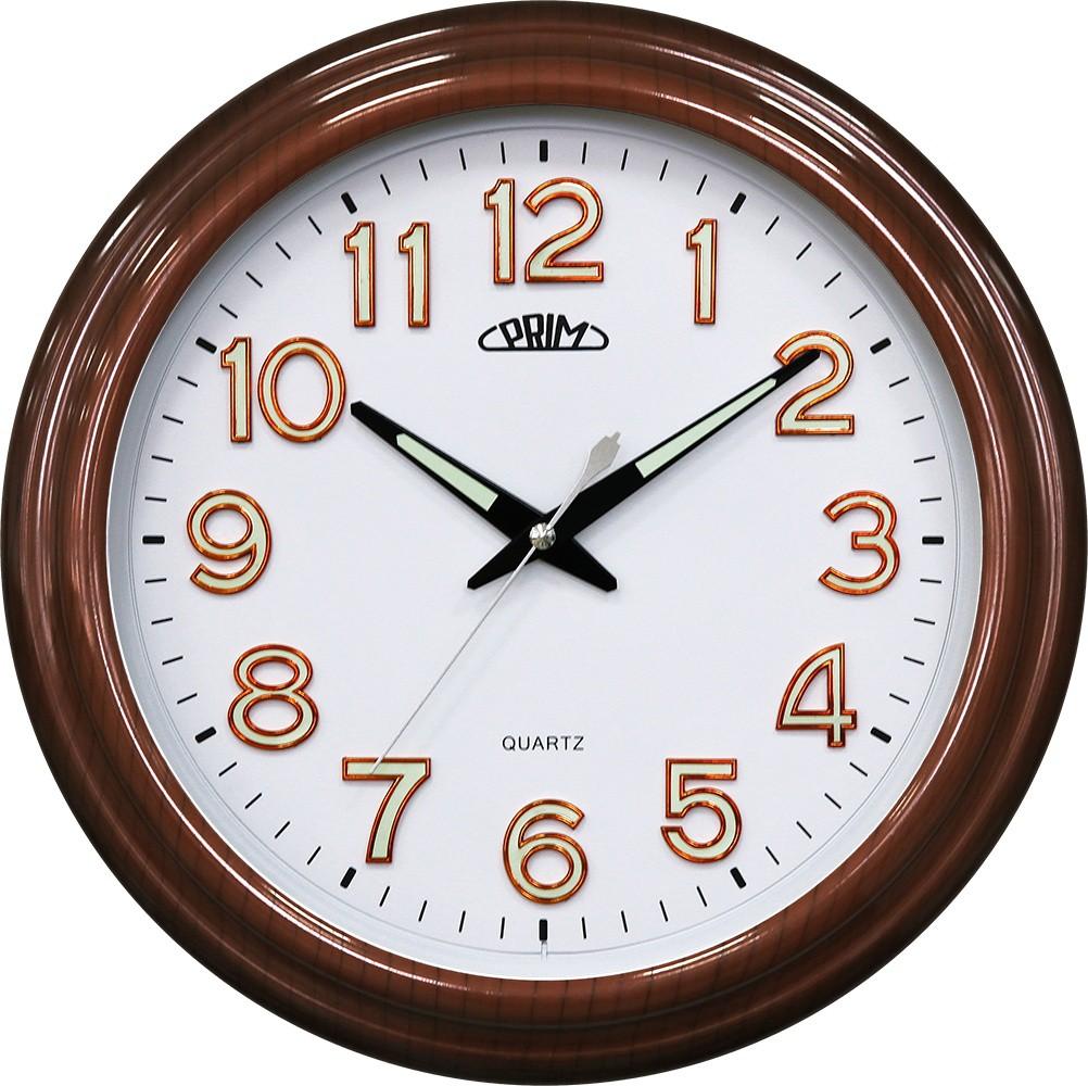 PRIM Netikající tiché hnědé nástěnné hodiny PRIM Classic I