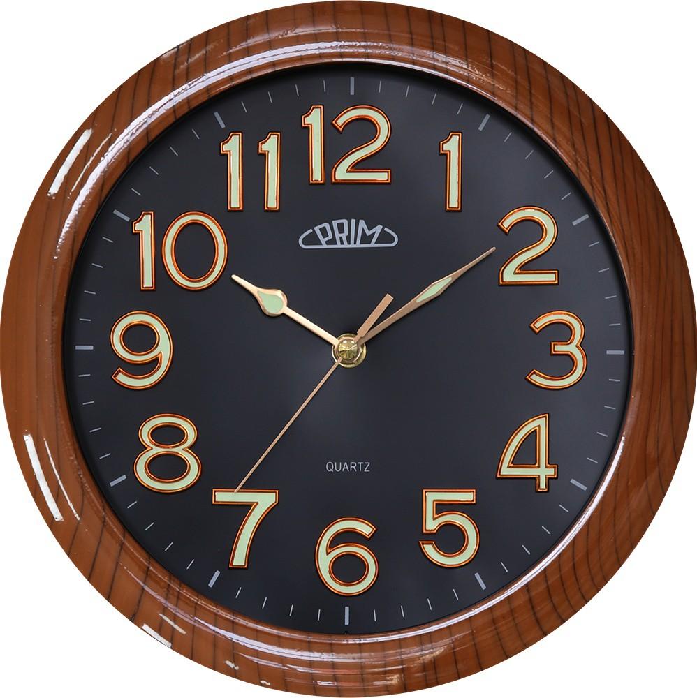 PRIM Dřevěné hnědé nástěnné hodiny PRIM General II