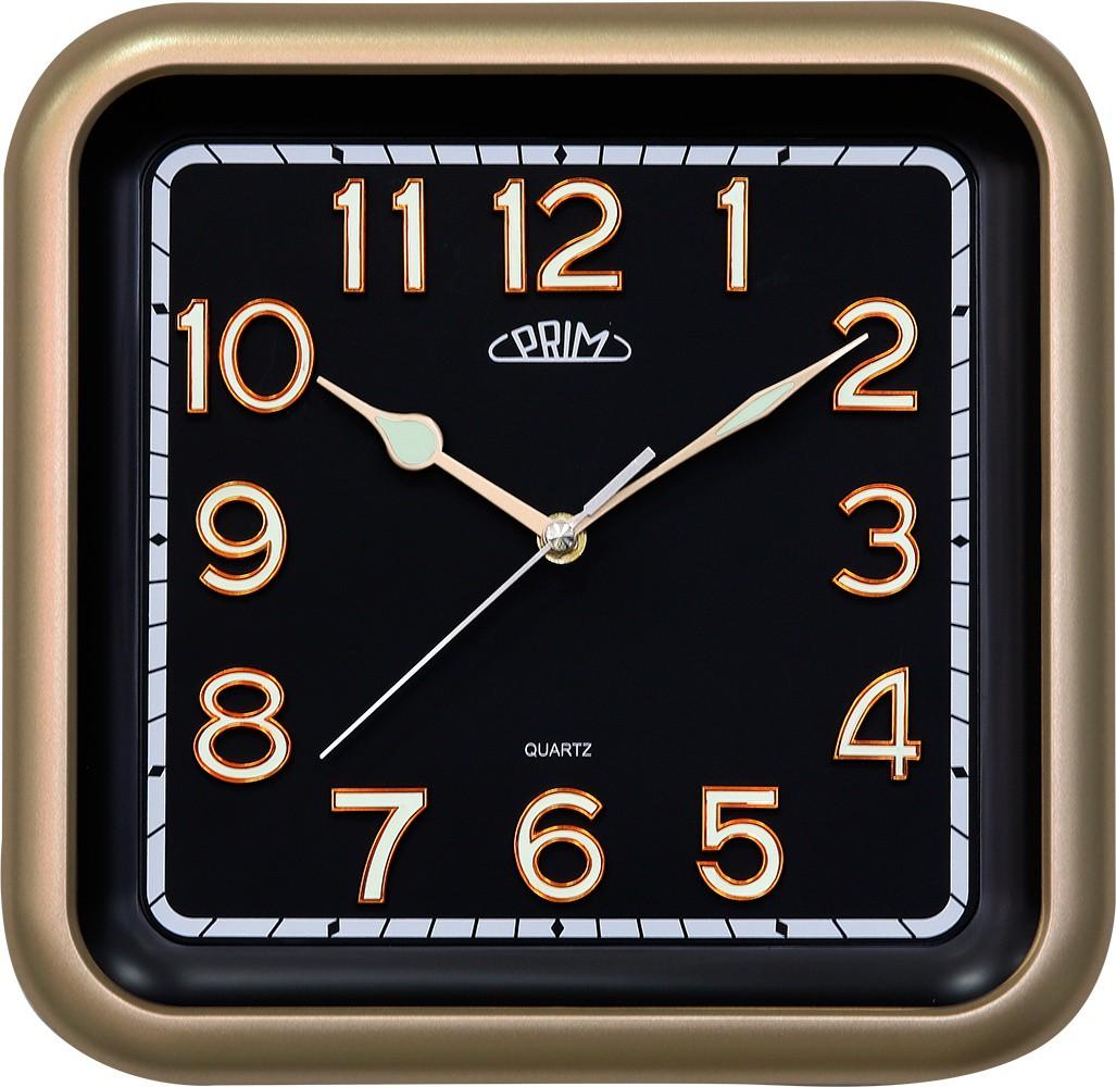 PRIM HRanaté černé nástěnné hodiny PRIM Square II