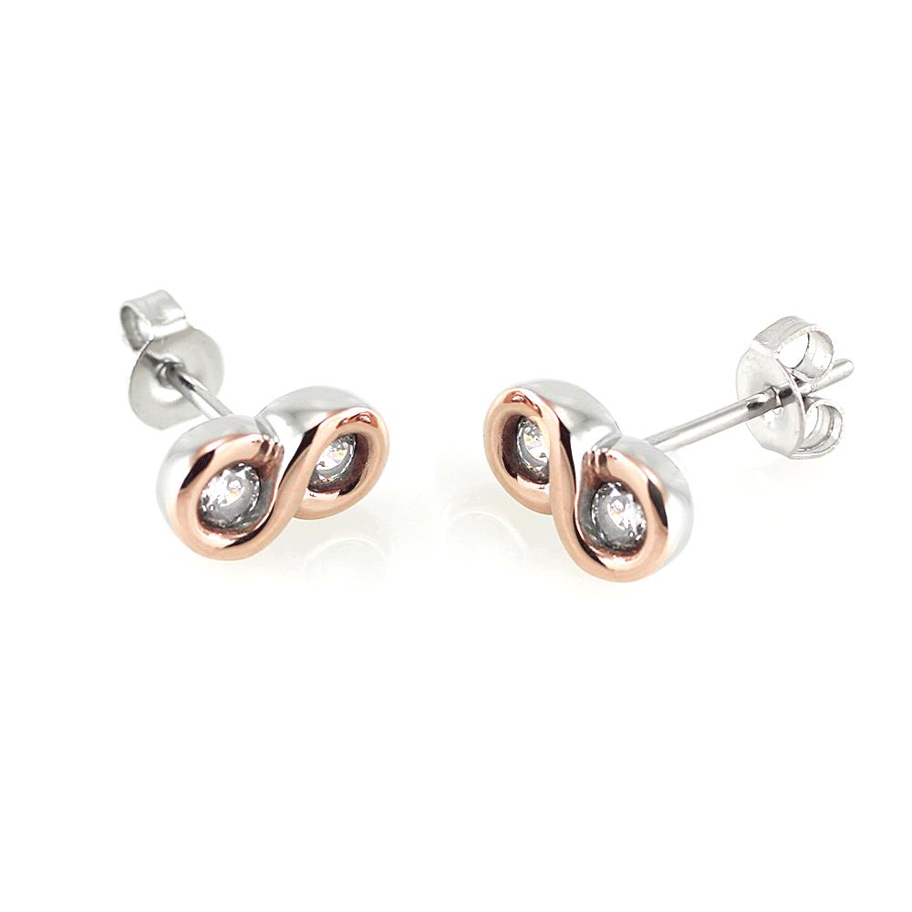 MPM Ocelové náušnice z chirurgické oceli Earrings 7516 - Bicolor