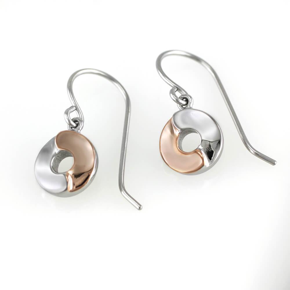 MPM Ocelové náušnice z chirurgické oceli Earrings 7514 - Bicolor (Rose Gold)