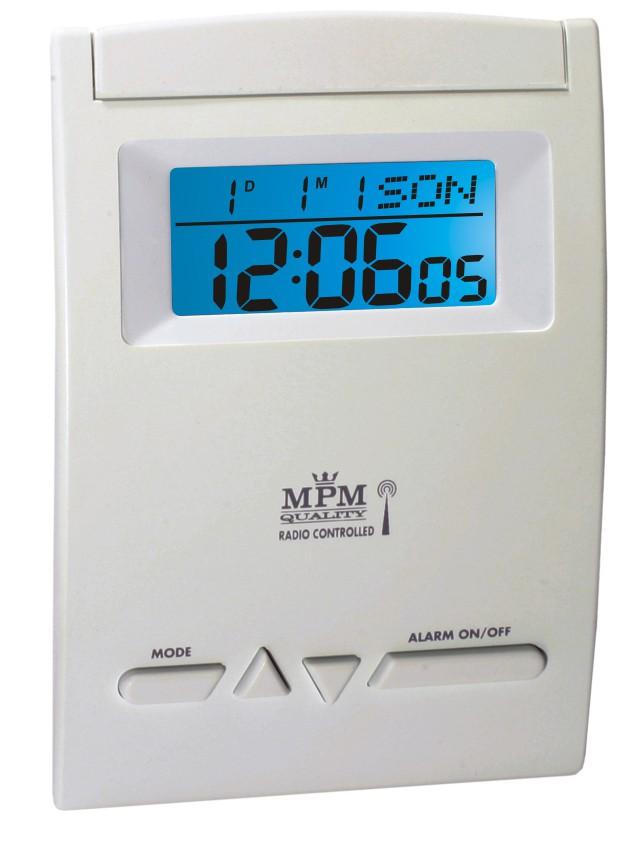 MPM Bílý digitální rádiem řízený budík s LED podsvíceným displejem C02.2765 EL