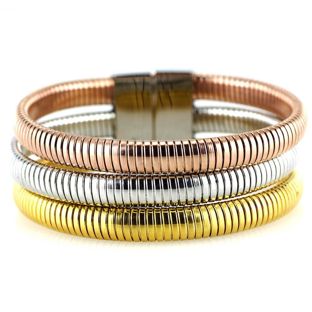 MPM Ocelový náramek z chirurgické oceli Bracelet 7607 - Bicolor (gold,rose,silver)