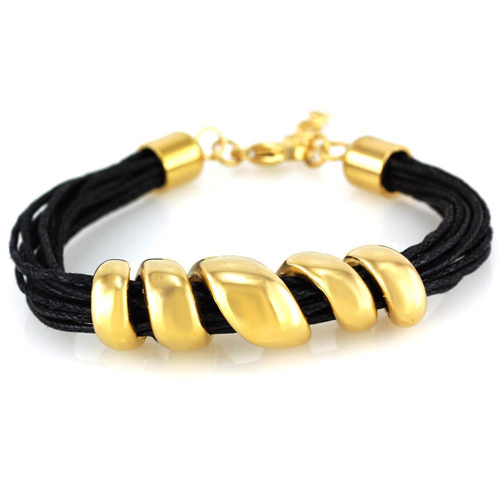 MPM Ocelový náramek z chirurgické oceli Bracelet 7618 - Gold Black