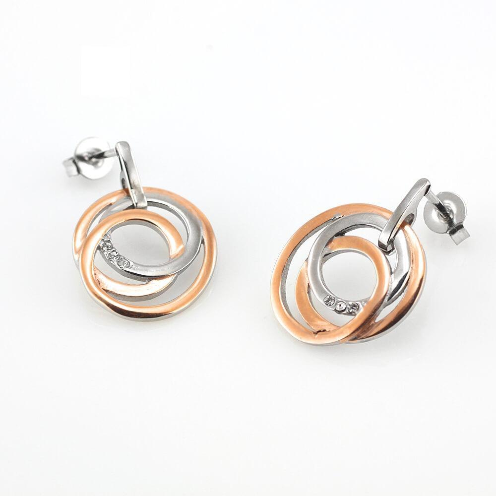 MPM Ocelové náušnice z chirurgické oceli Earrings 7996 - Silver Gold