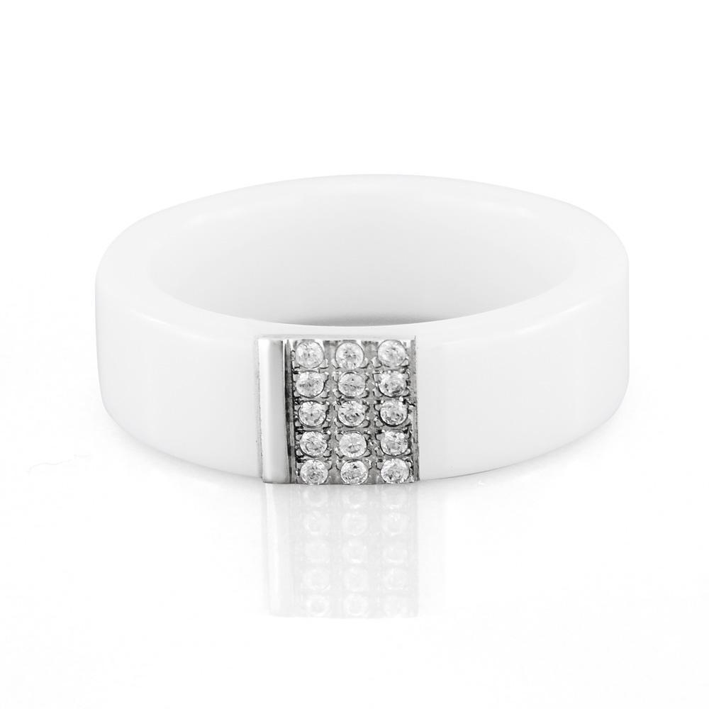 MPM Prsten z chirurgické oceli Ring 7877, Ceramic, size 52 SILVER