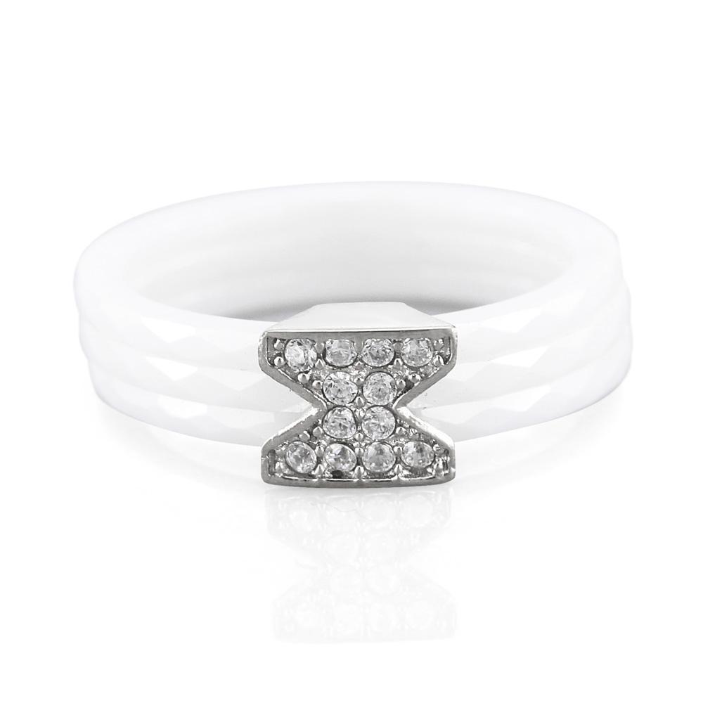 MPM Prsten z chirurgické oceli Ring 7884, Ceramic, size 54