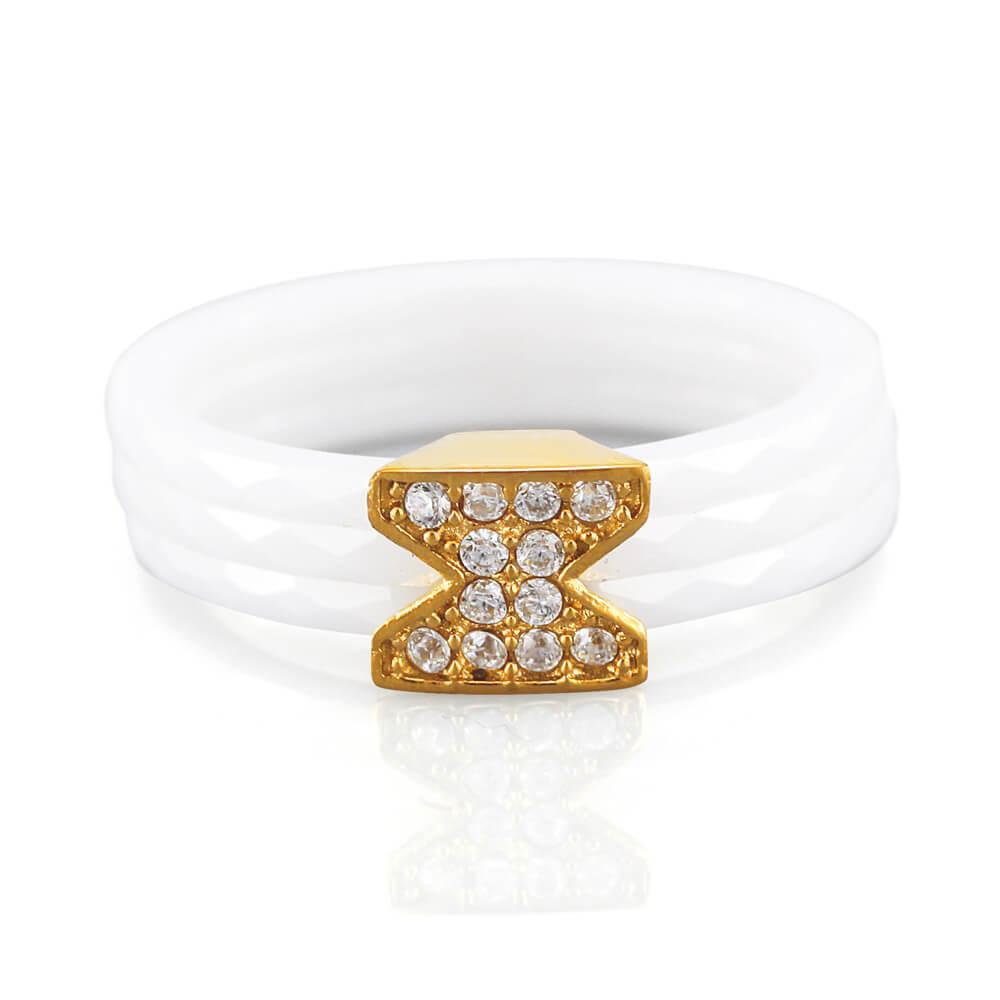 MPM Prsten z chirurgické oceli Ring 7886, Ceramic, size 52
