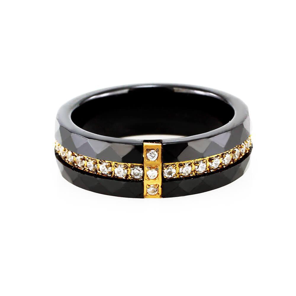 MPM Prsten z chirurgické oceli Ring 7890, Ceramic, size 57