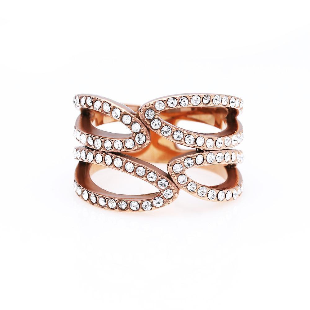 MPM Prsten z chirurgické oceli Ring 8057, Gold rose, size 54