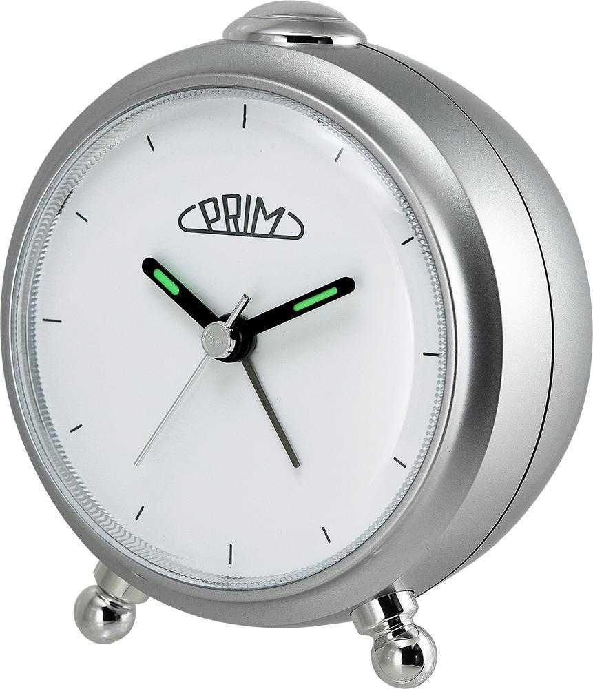 PRIM Stříbrný budík Alarm Simply - C01P.3796.7000.I