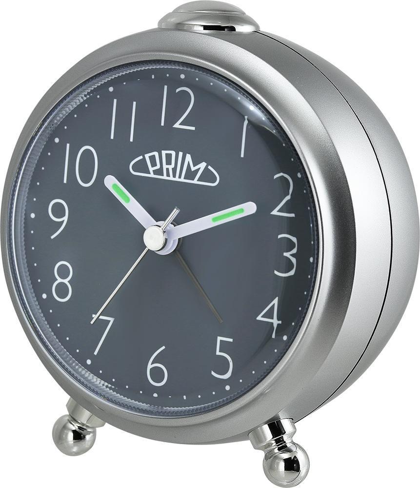 PRIM Šedý budík Alarm Simply - C01P.3796.7092.A