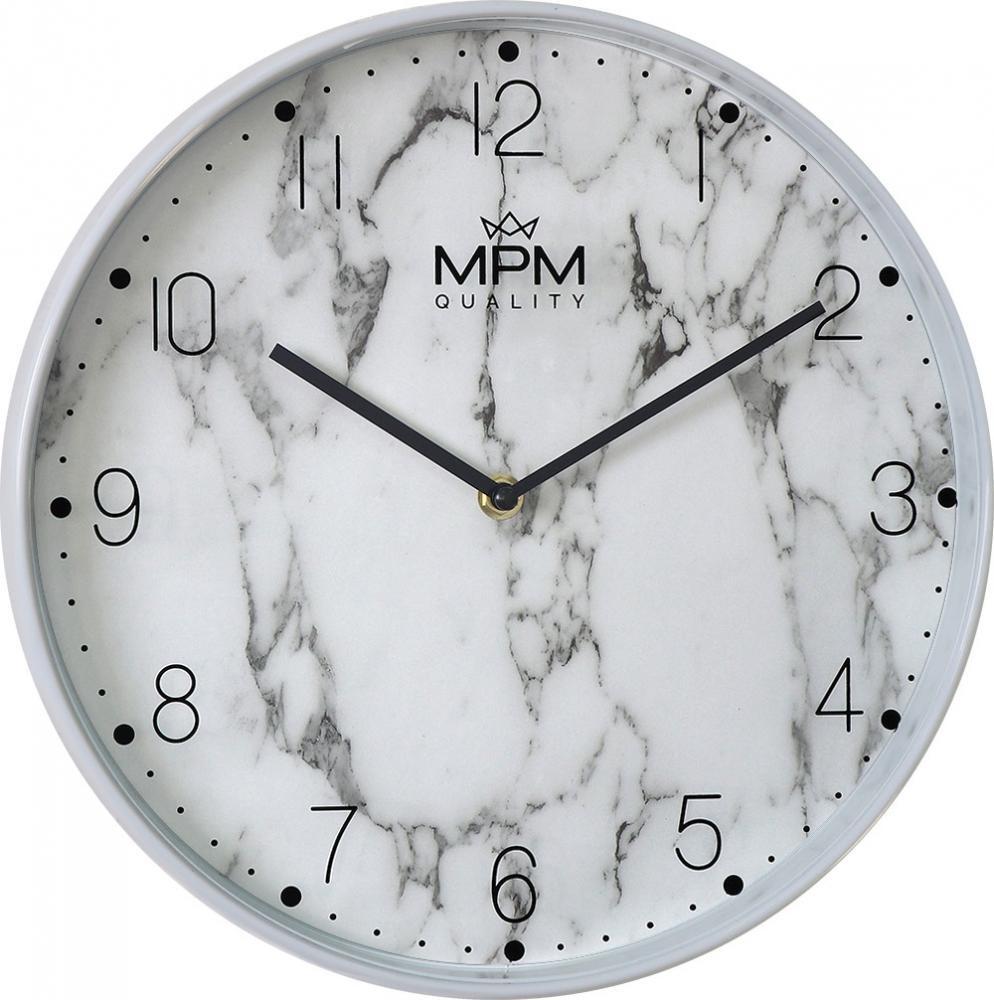 MPM Bílé mramorové nástěnné hodiny MPM White Marble