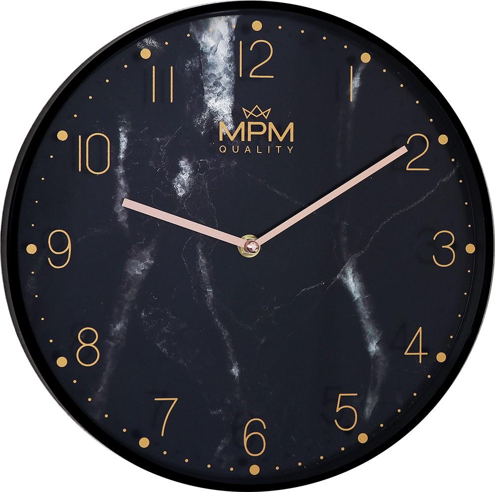MPM Černé nástěnné hodiny MPM Black Marble