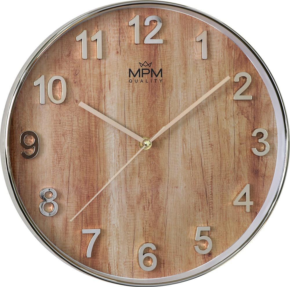 MPM Kulaté nástěnné hodiny s motivem dřeva MPM Wood Style - E01.3898