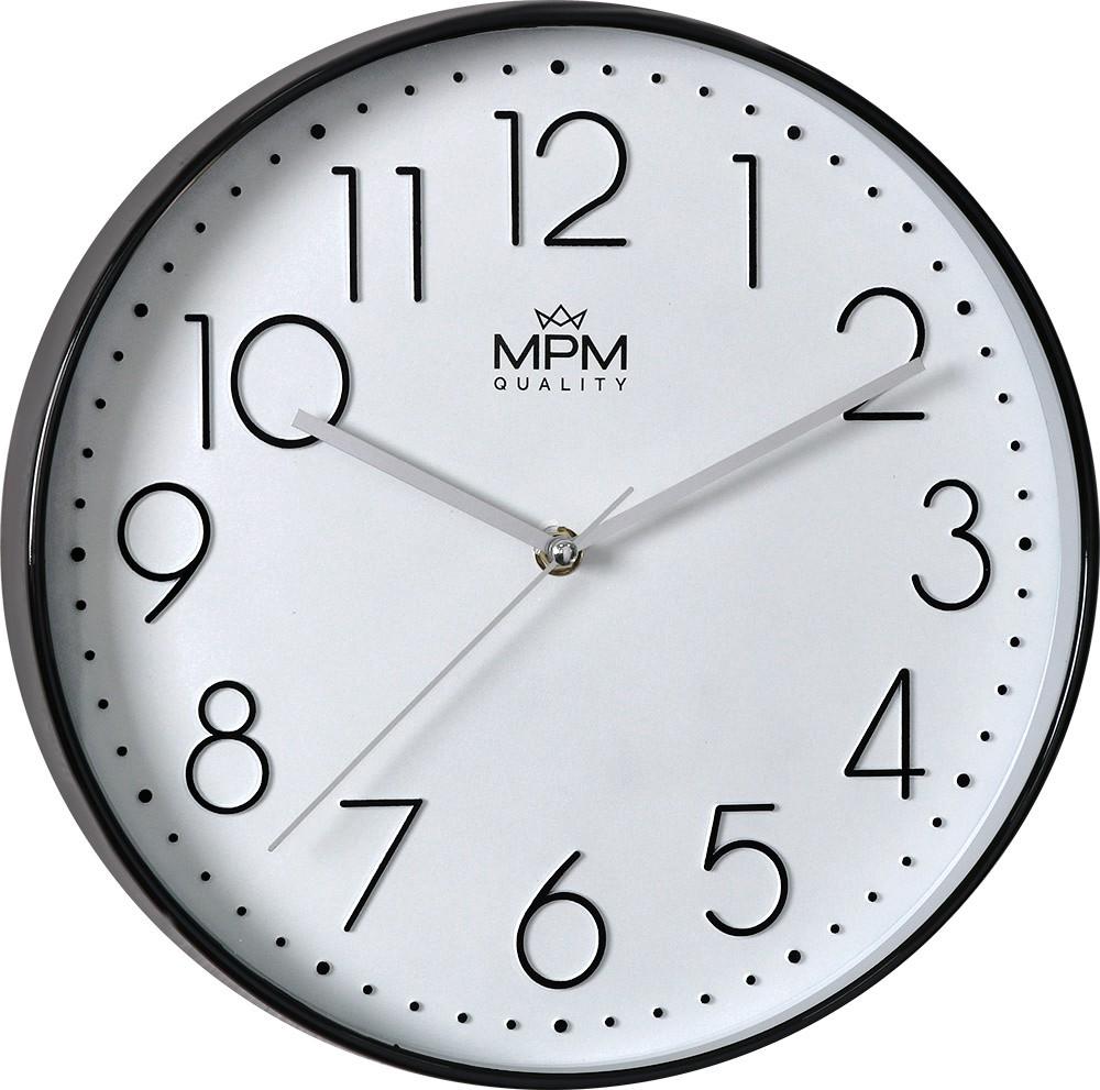 MPM Černo-bílé nástěnné kulaté hodiny MPM White Star - E01.3899.9000