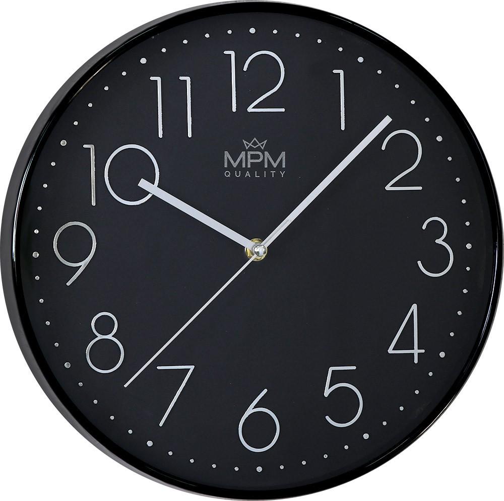 MPM Černé kulaté nástěnné hodiny MPM White Star II - E01.3899.9090