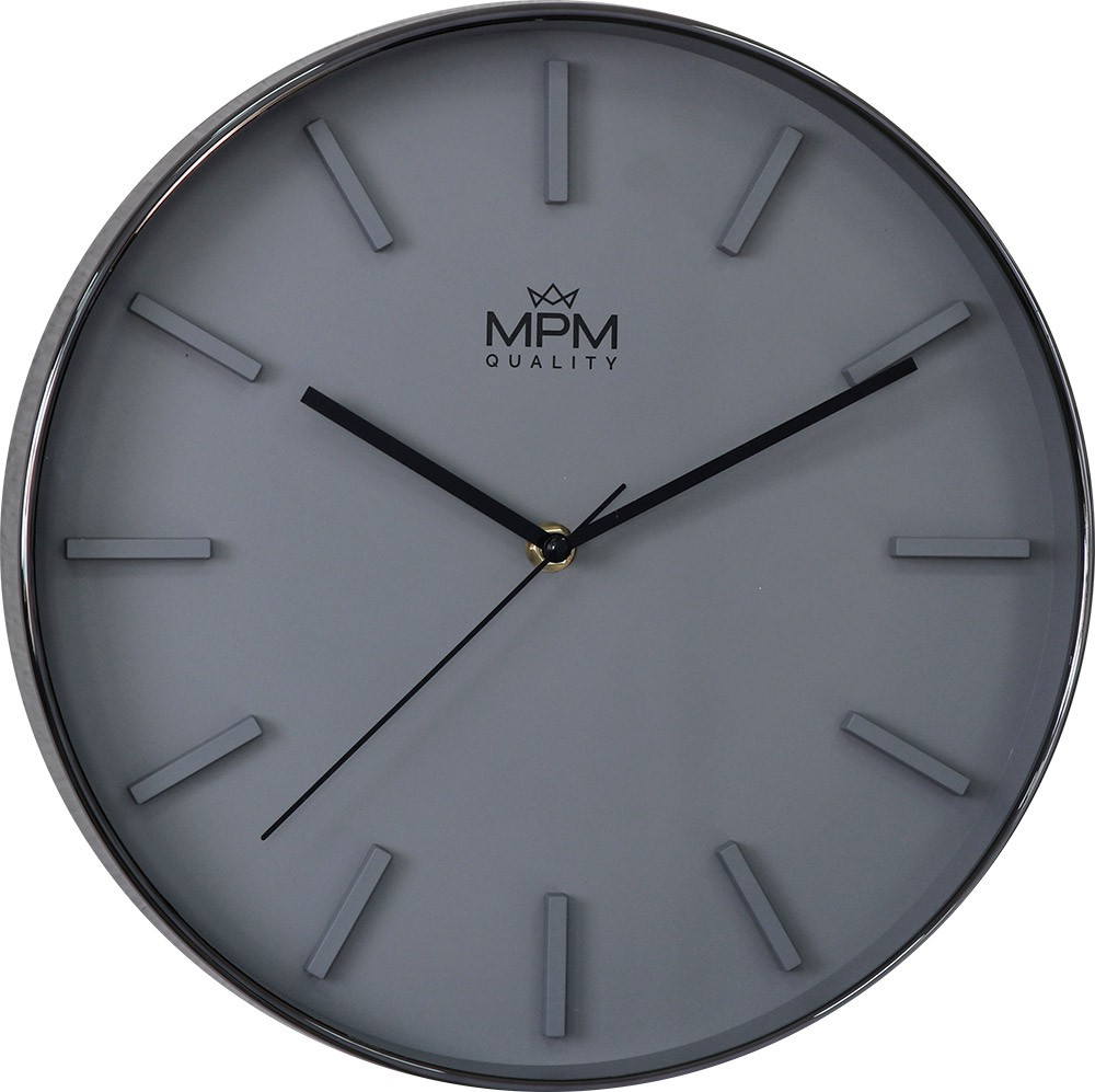 MPM Šedé kulaté hodiny MPM Grey Architect - E01.3904.94