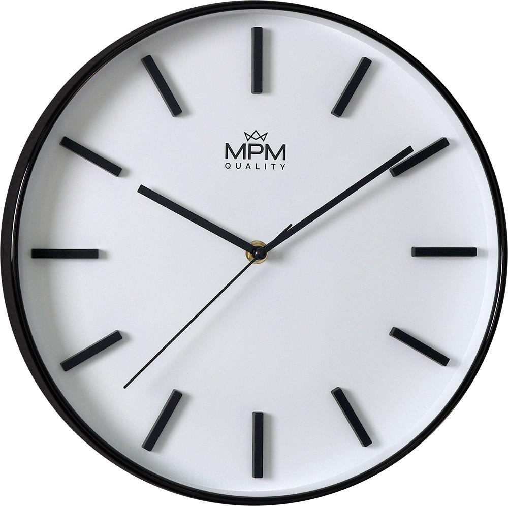 MPM Černé kulaté hodiny MPM Architect - E01.3904.9400