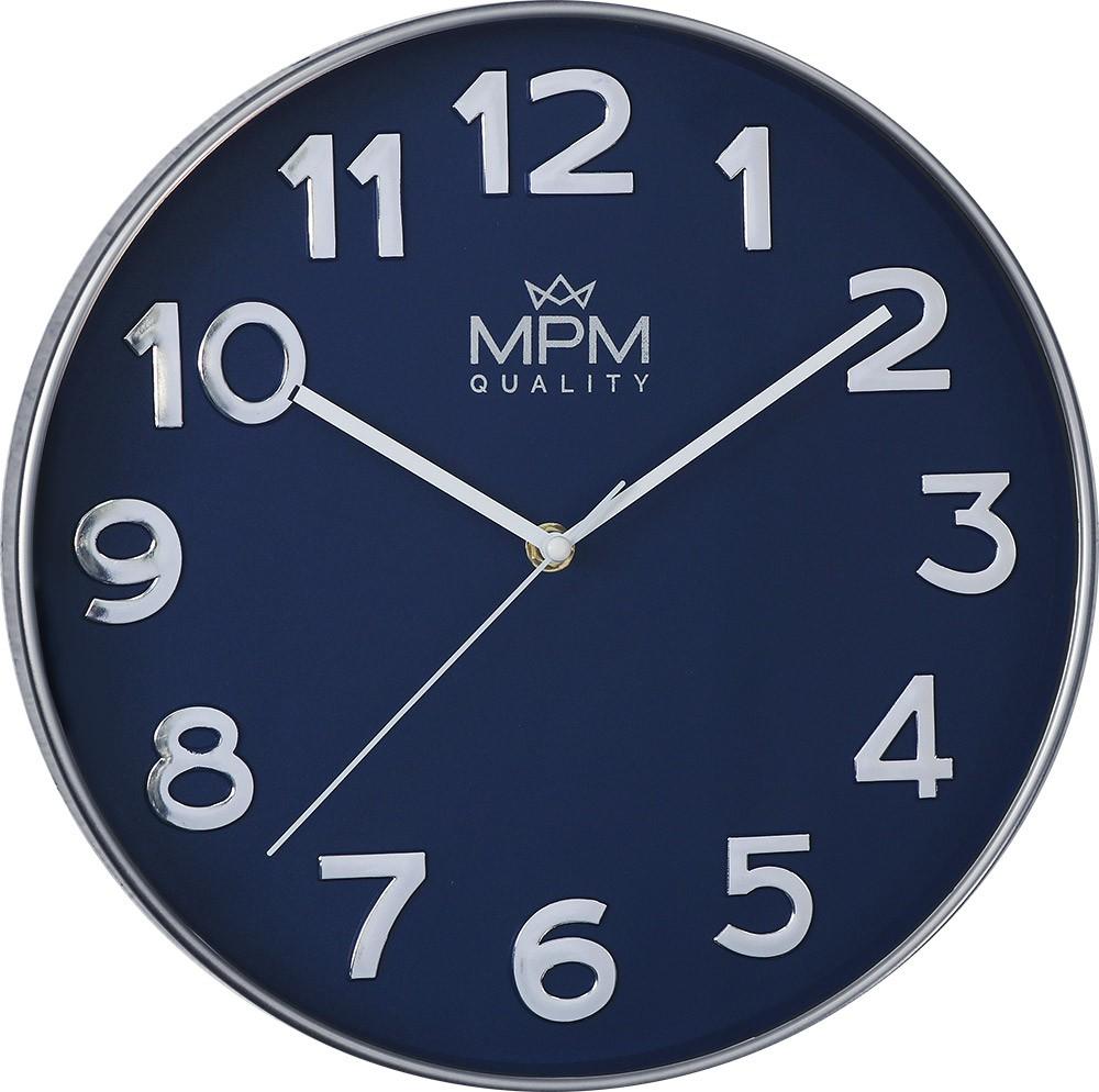MPM Modré kulaté hodiny MPM Silver Line - E01.3905.32