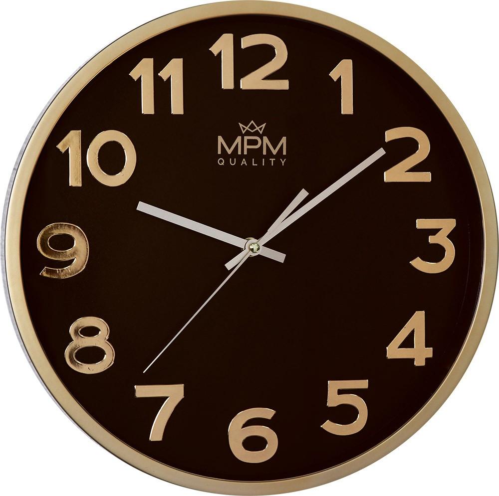 MPM Zlato hnědé nástěnné kulaté hodiny MPM Emphaty - E01.3906.80