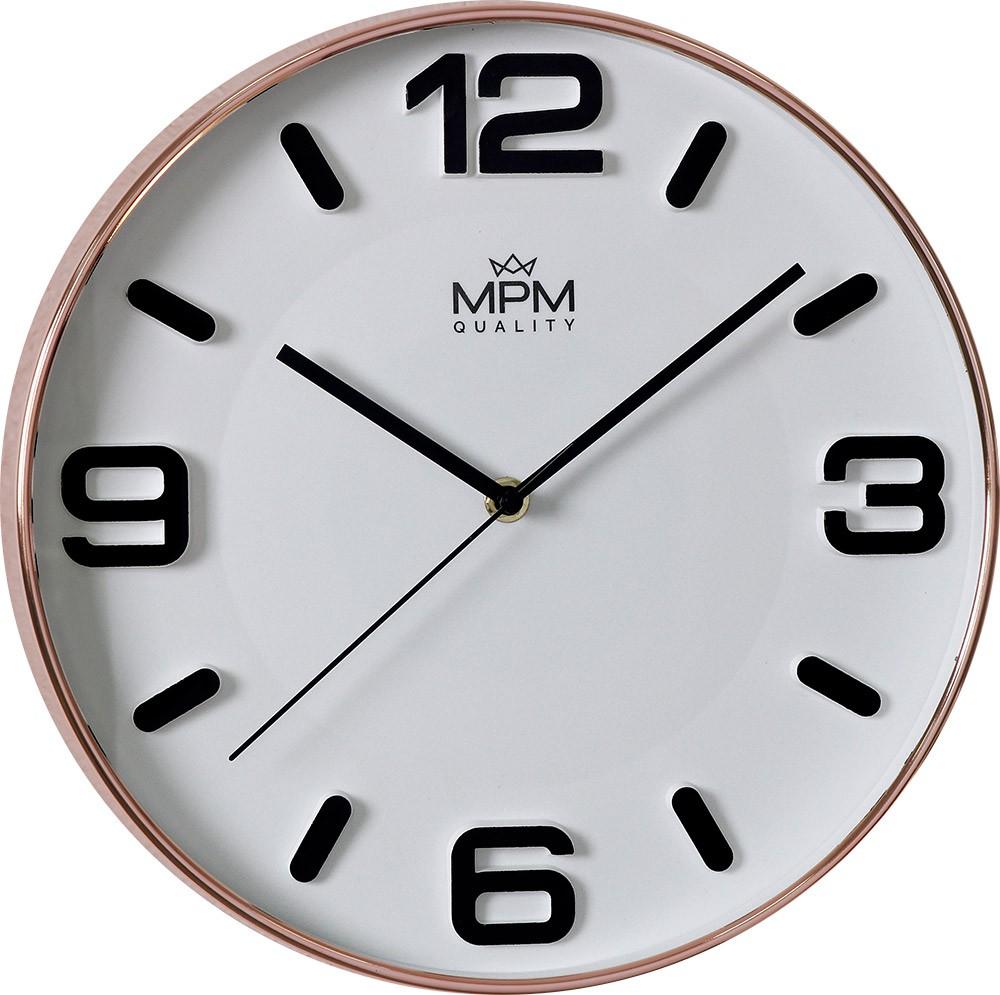 MPM Moderní růžovo-bílé kulaté hodiny MPM Rose Modern I - E01.3901.8200