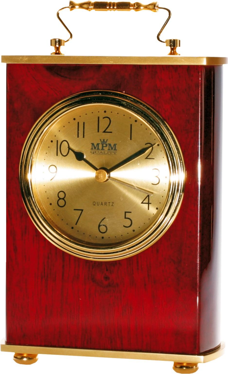 MPM Luxusní stolní kaštanové hodiny v tradičním stylu MPM E03.2839.55.A