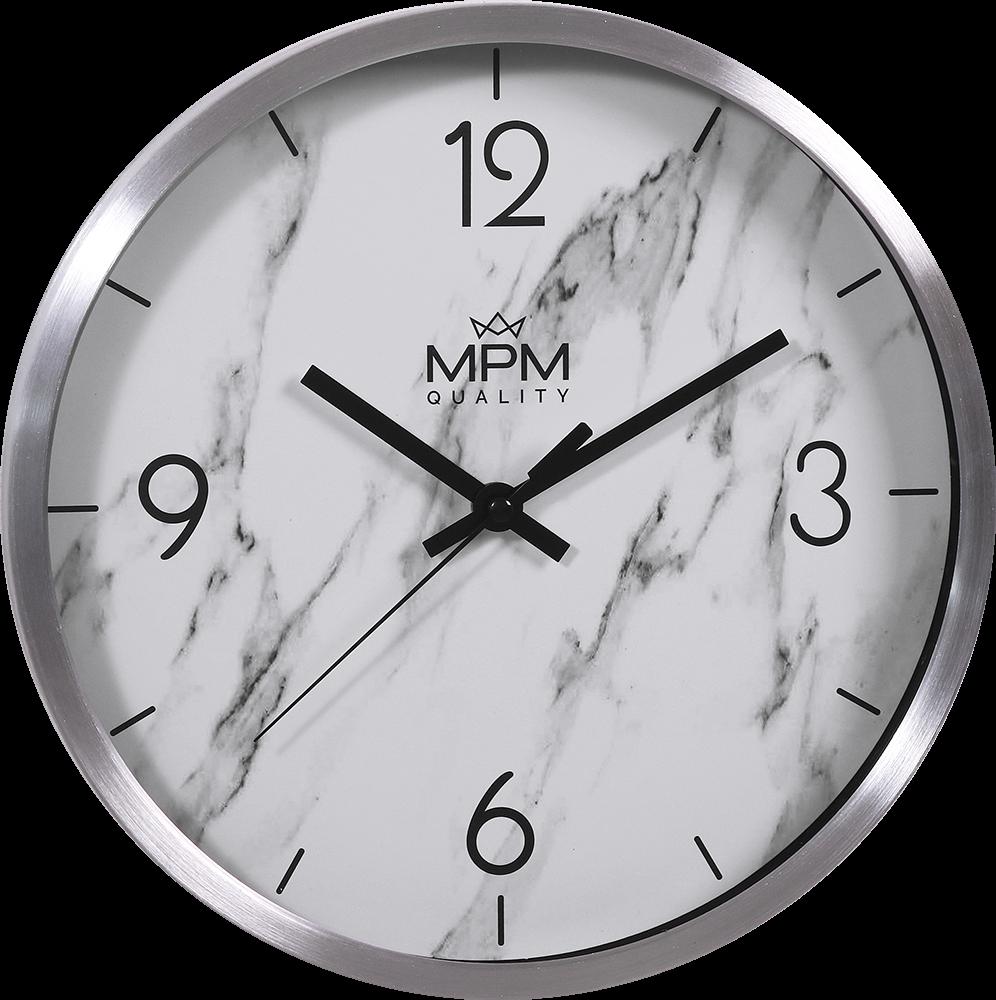 MPM Kovové stříbrné nástěnné kulaté hodiny MPM Stone I - E01.3944