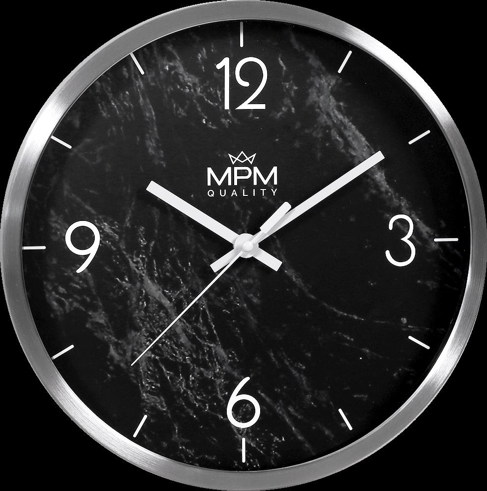 MPM Kovové černé kulaté hodiny MPM Stone II - E01.3944
