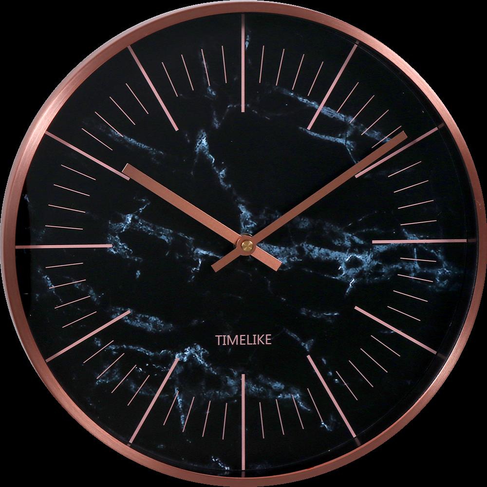 MPM Kovové IPRose a černé kulaté hodiny MPM Stone Rose - E01.3945