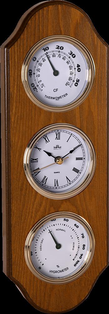 MPM Dřevěné nástěnné hodiny s teploměrem a barometrem MPM E06.3894