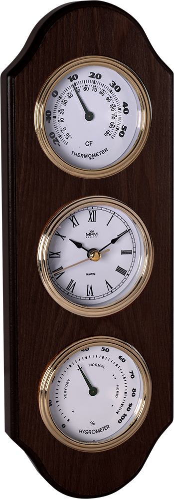 MPM Dřevěné nástěnné hodiny s teploměrem a barometrem E06.3894