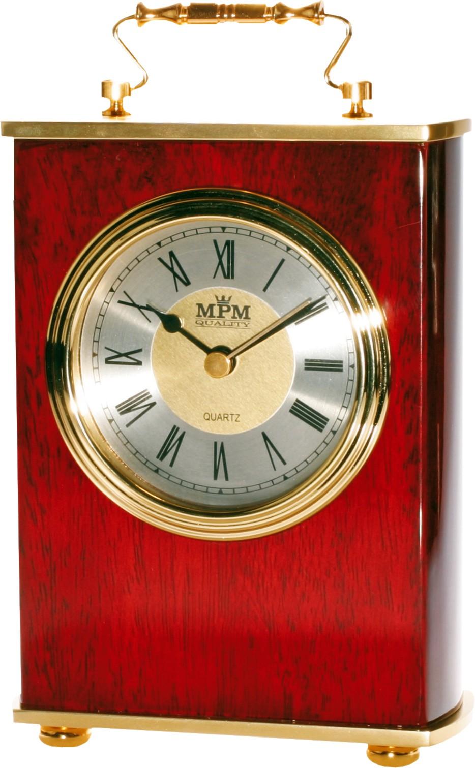MPM Luxusní stolní kaštanové hodiny v tradičním stylu MPM E03.2839.55.I